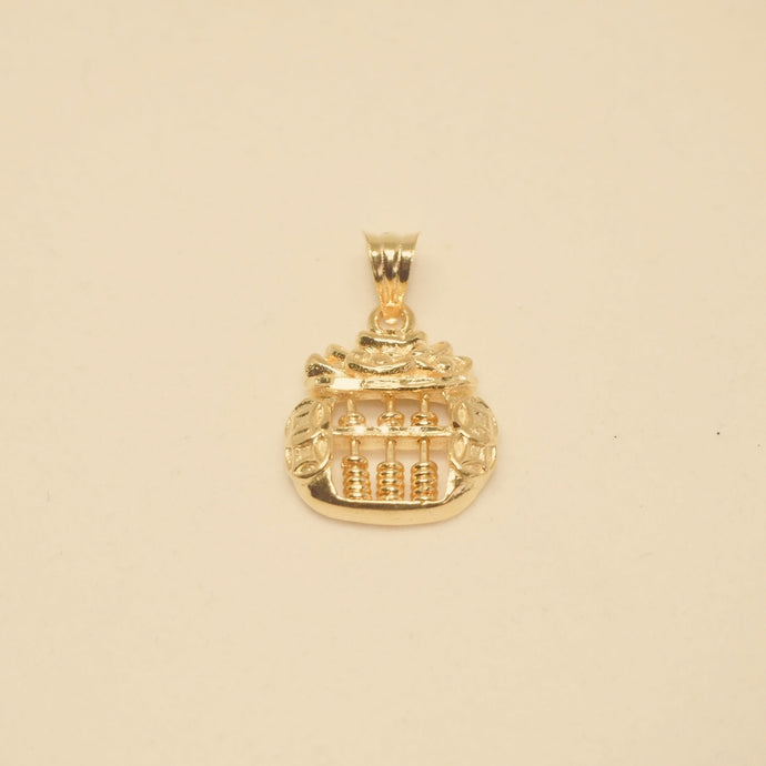 Abacus In A Pot of Gold Pendant