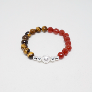 Silver Money Ball With Red Agate and Tiger Eye Beads Bracelet