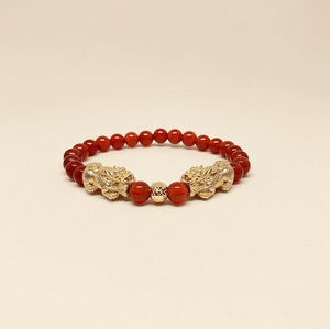 Gold Pi Xiu With Red Agate Beads Bracelet