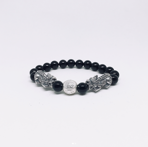 Oxidised Silver Pixiu With Black Obsidian Beads Bracelet