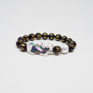 Silver Colour Changing Pixiu with Money Ball and Mantra Engraved Black Obsidian Beads Bracelet