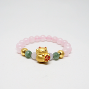 Gold Fortune Cat with Jade and Rose Quartz Bracelet