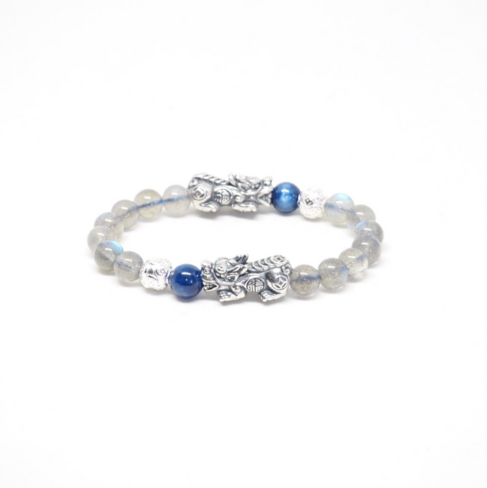 Oxidised Silver Pixiu with Money Ball, Labradorite and Kyanite Beads Bracelet