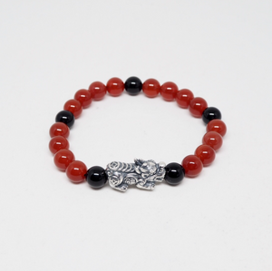 Oxidised Silver Pixiu with Red Agate and Black Obsidian Beads Bracelet