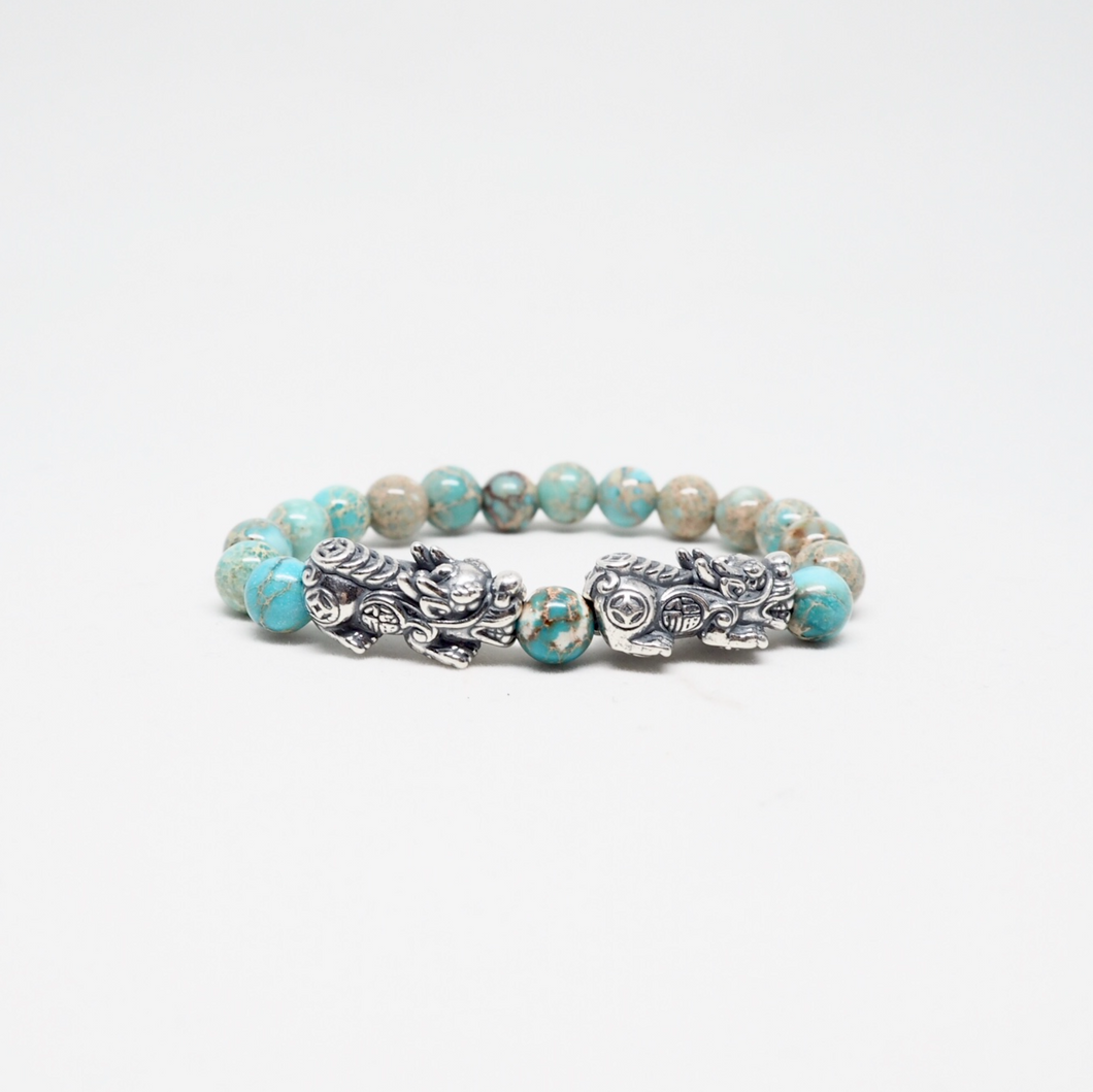 Oxidised Silver Pixiu With Turquoise Beads Bracelet
