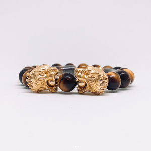 Gold Tiger Head With Tiger Eye Beads Bracelet