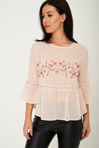Chiffon Floral Embroidered Top Ex Brand