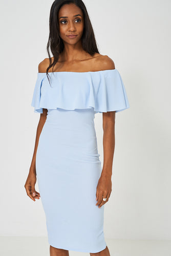 Pale Blue Bardot Bodycon Dress