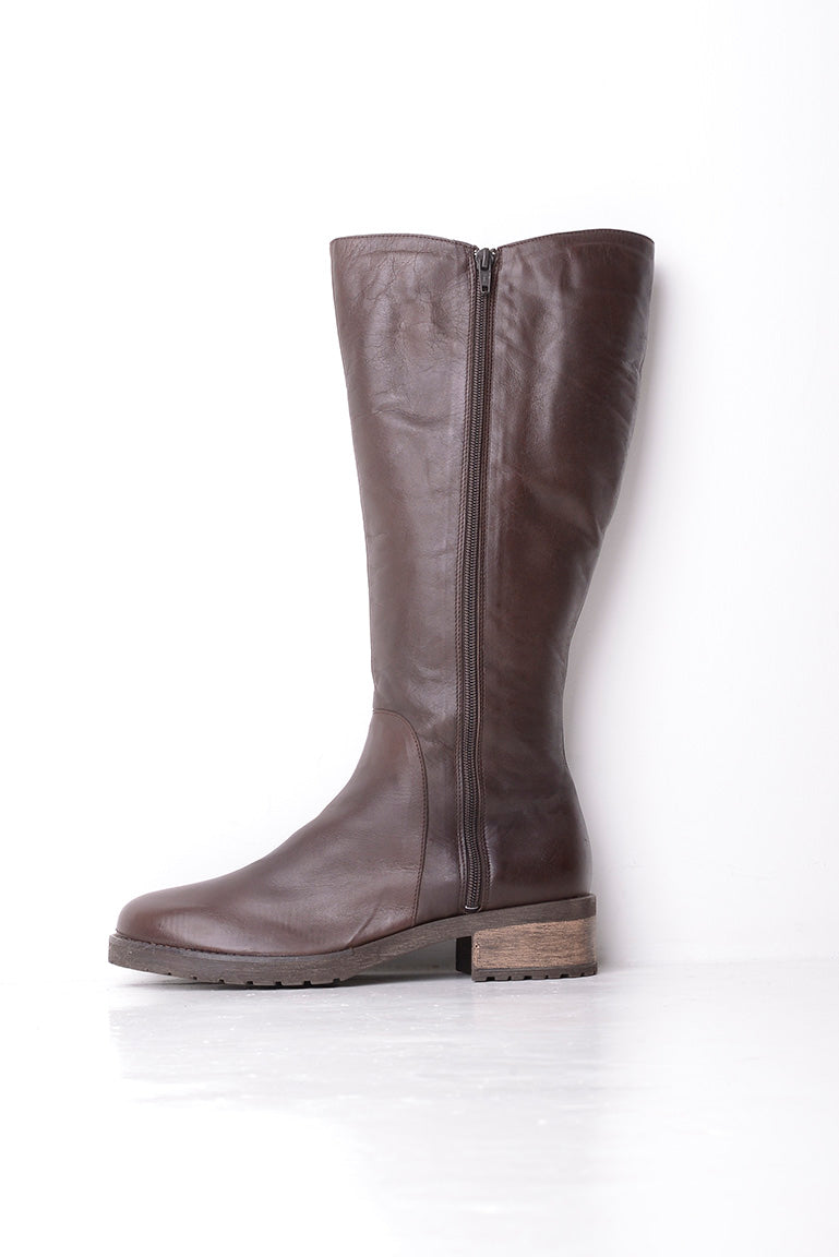 Laceys London Brown Leather Knee Length Boots