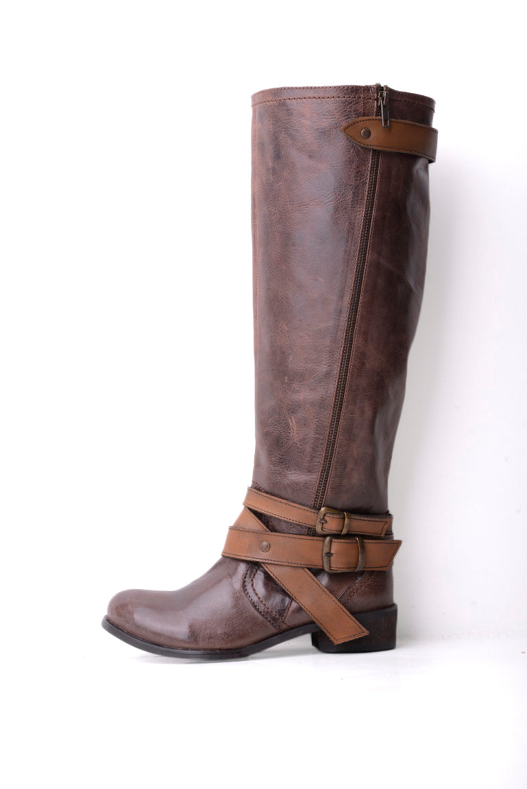 Ravel Kyle Buckle Leather Boot in Brown