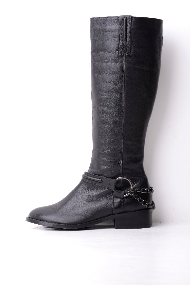 Carvela Kurt Geiger Black Paula Leather Chain Trim Boot