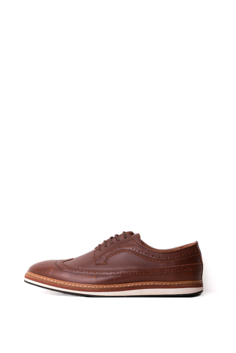SELECTED Men's Leather Brogue Lace Ups In Cognac