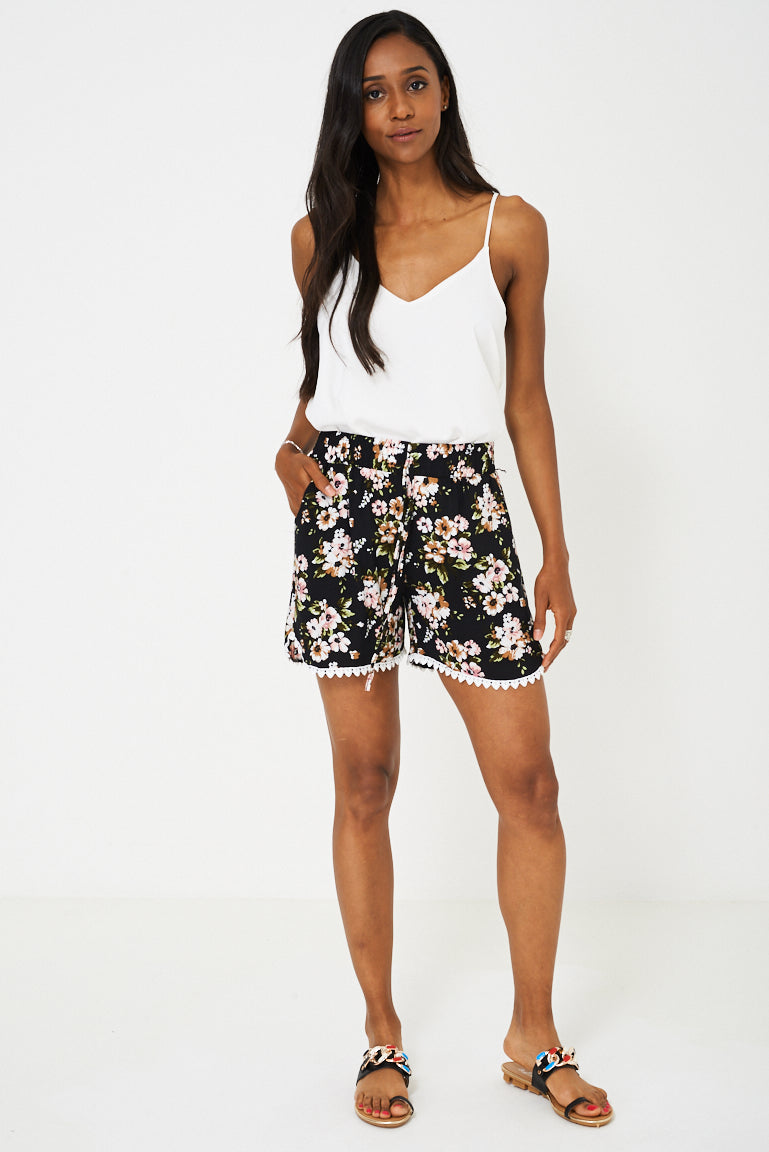 Crochet Detail Floral Shorts
