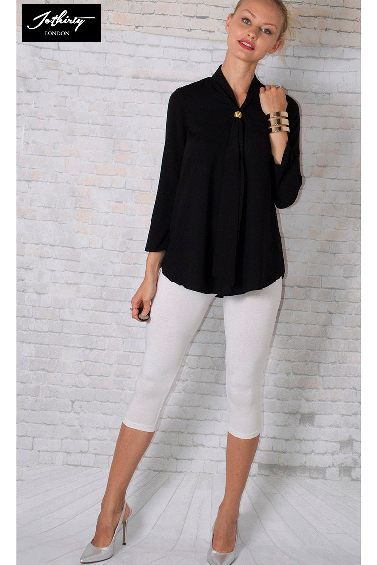 JOTHIRTY Blouse With Tie Front in Black