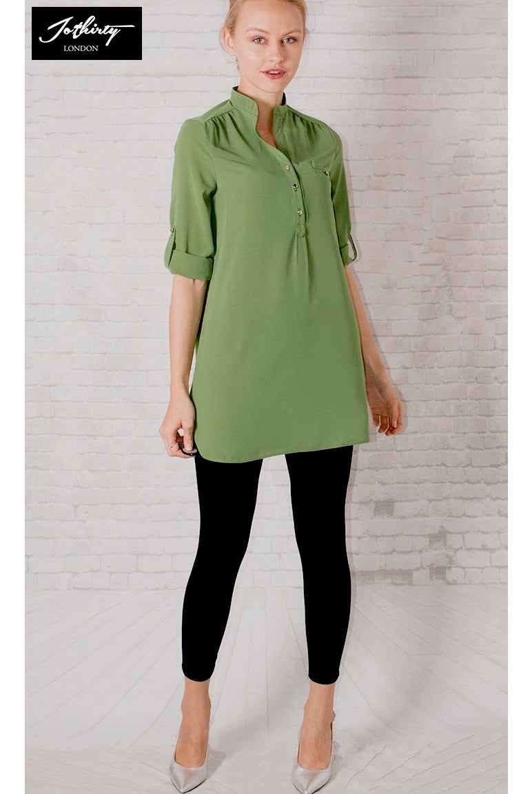 JOTHIRTY Roll-Up Sleeve Tunic Shirt in Green