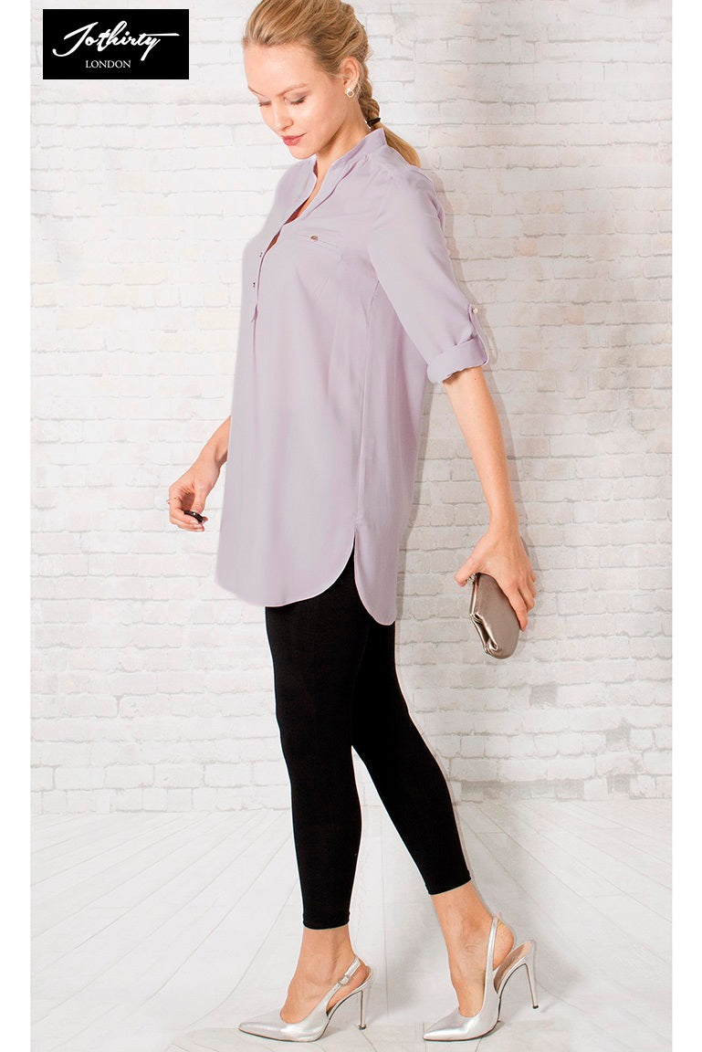 JOTHIRTY Roll-Up Sleeve Tunic Shirt in Purple