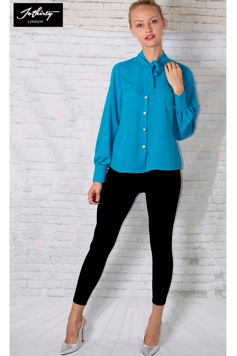 JOTHIRTY Bow Tie Neck Shirt In Teal