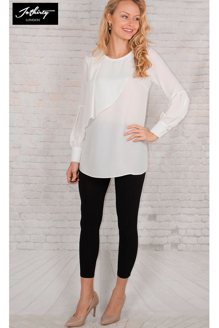 JOTHIRTY Ruffle Front Blouse with Balloon Sleeve in White