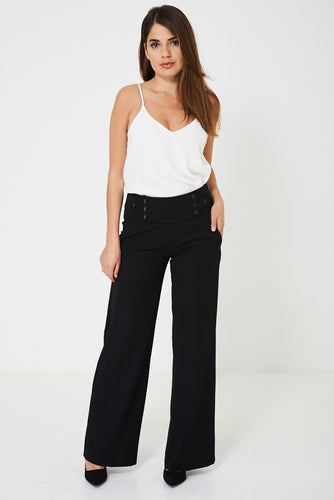 Wide Leg Tailored Trousers in Black Ex Brand