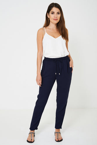 Navy Peg Trousers Ex Brand