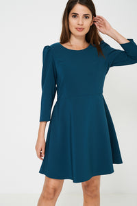 Long Sleeve Skater Dress in Green Ex Brand