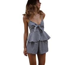 Load image into Gallery viewer, Two-Piece Outfit 2017 New Arrival Sexy V-Neck Camis Blouse Women Plaid Casual Bow Crop Top Vest Shirt + Shorts Pants