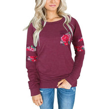 Load image into Gallery viewer, Floral Printed Sweatshirt Women's Fashion Pockets Crew Neck Sweatshirts Pullover Casual Tops  sudaderas mujer 2017