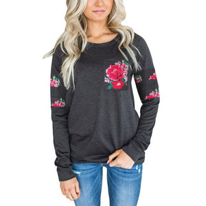Floral Printed Sweatshirt Women's Fashion Pockets Crew Neck Sweatshirts Pullover Casual Tops  sudaderas mujer 2017