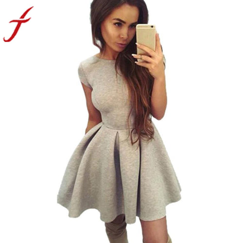 JECKSION Fashion Summer Women Dresses 2016 Hot Sexy Backless Party Dress Mini Solid Color Dress Elegant #LSIW