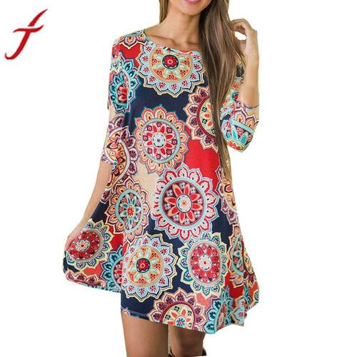 2017 New Arrival Boho Vintage Dress Womens Summer Autumn Three Quarter Maxi Evening Party Beach Floral A-Line Dress Soft Cotton