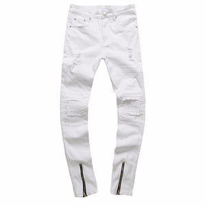 Mens Ripped Slim White Jeans