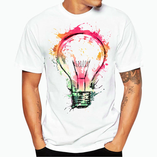 Mens Printed Light Bulb T-Shirt