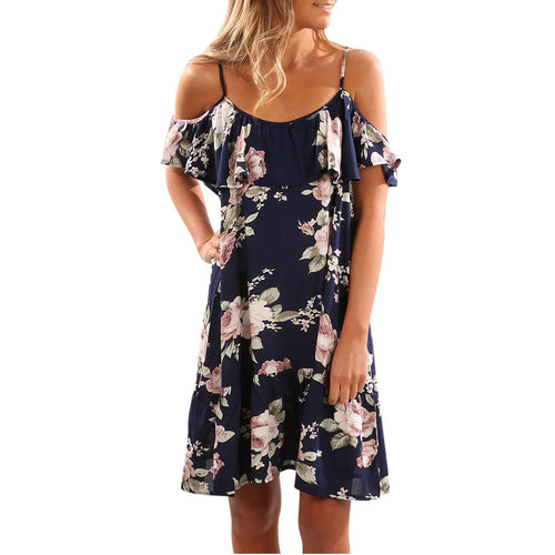 Women Summer Floral Ruffles Dress Off Shoulder Mini Dress Beach Party Dress