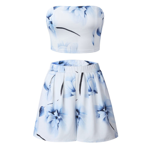 Women Ladies Prints Off Shoulder Top Shirt Blouse Shorts Pant 2PCS Set
