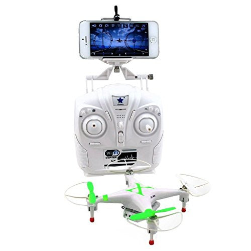 Cheerson CX-30W 2.4GHz 4CH 6-Axis Gyro 360-degree Eversion WiFi Real Time Video RC Quadcopter UFO FPV with 0.3MP HD Camera & Transmitter RTF - iPhone Transmission Control Green