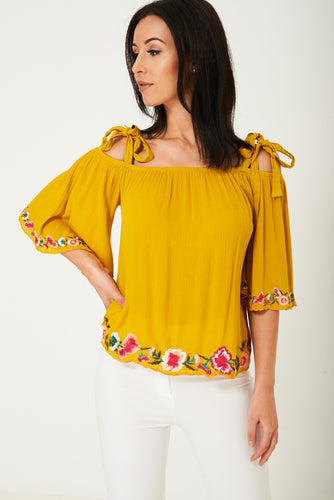 Yellow Off Shoulder Embroidered Top Ex Brand