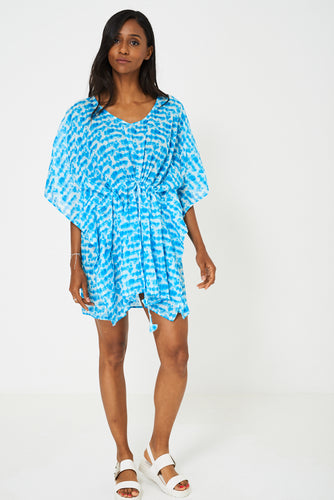 Patterned Kaftan in Blue