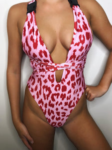 Leopard Print Buckle Swimsuit in Pink - VIP Chic London