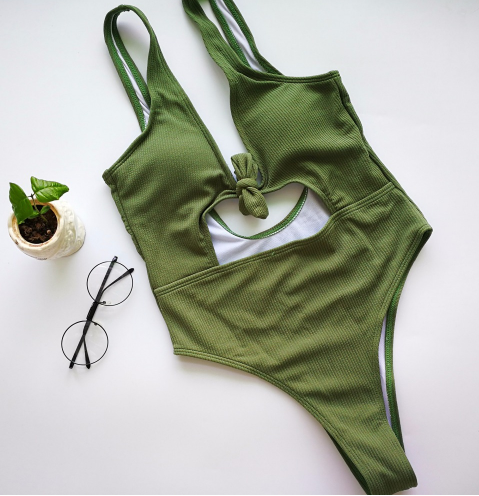 The Get Knotted Swimsuit in Khaki - VIP Chic London