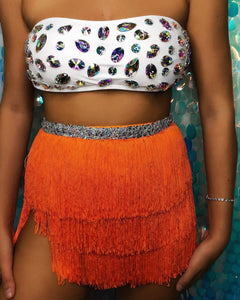 Fringe Sarong with Sequin Band in Orange - VIP Chic London