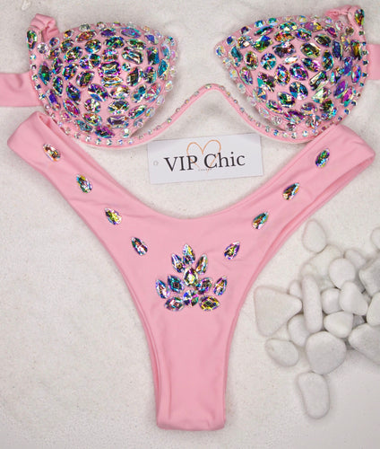 The Jessica Underwired Carnival Bikini in Baby Pink - VIP Chic London