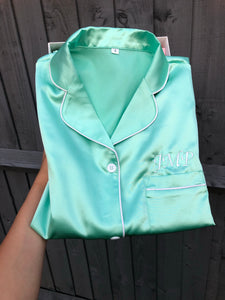 NEW Personalised Mint Green Satin Pyjamas Short Set