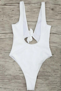 The Get Knotted Swimsuit in White - VIP Chic London