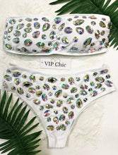 The Olivia Crystal Bandeau Bikini in White - VIP Chic London