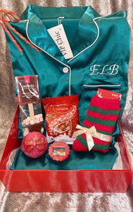 NEW Christmas Gift Box with Personalised Satin Pyjamas Short Set