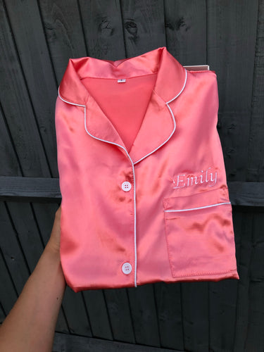 NEW Personalised Coral Satin Pyjamas Short Set