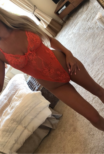 Floral Lace Bodysuit in Orange