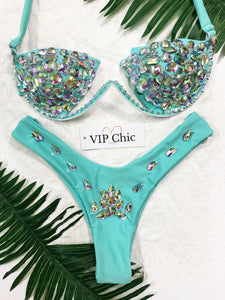 The Jessica Underwired Carnival Bikini in Aqua - VIP Chic London