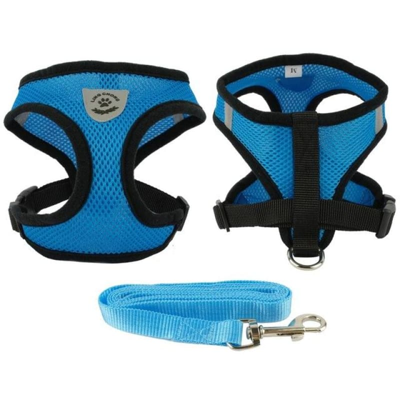 Breathable Air Nylon Mesh Puppy Dog Harness and Leash Set - Blue / L