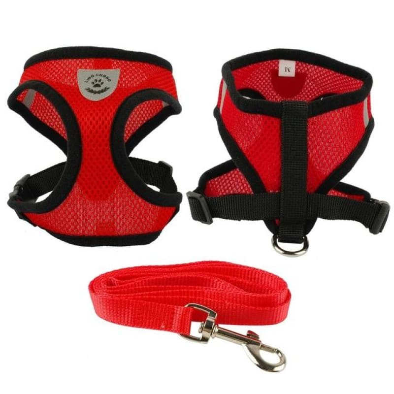 Breathable Air Nylon Mesh Puppy Dog Harness and Leash Set - Red / L